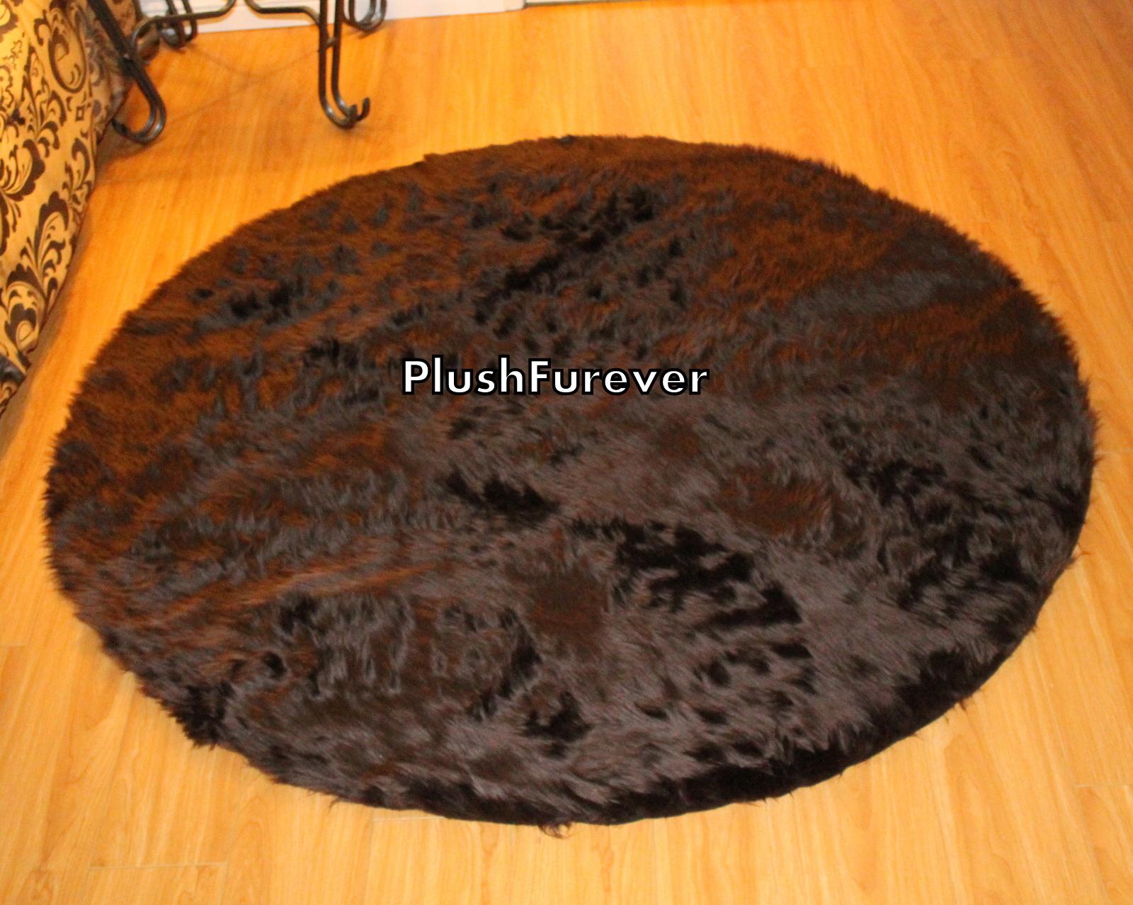 60 Quot Brown Round Area Rug Luxury Faux Fur Premium