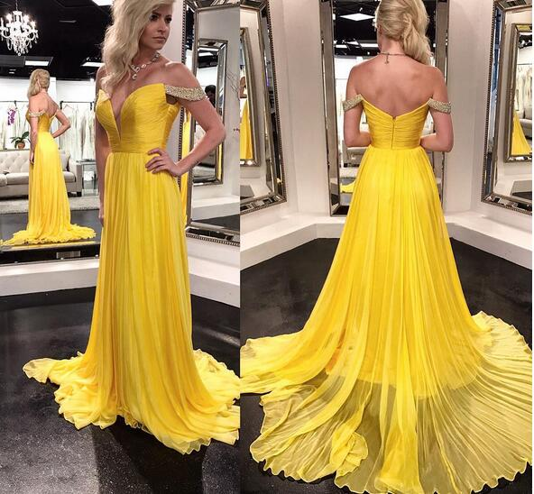 b795cfc2ff03 yellow off shoulder a line long chiffon crystal prom dresses