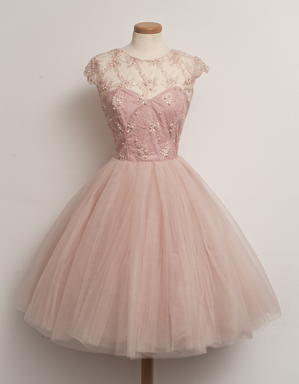 Cap Sleeve Ball Gown Pink Lace Homecoming Dress with Pearls,Formal ...