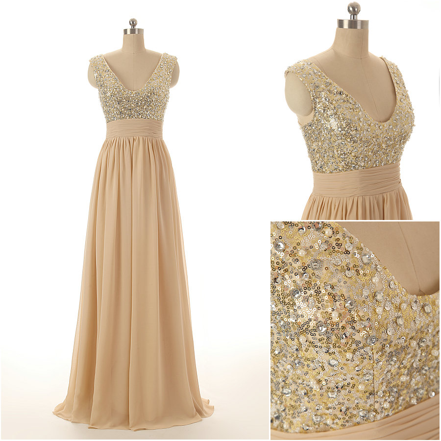 A71 Tank Sequins Beaded Long Chiffon Prom Gowns,Champagne Evening ...