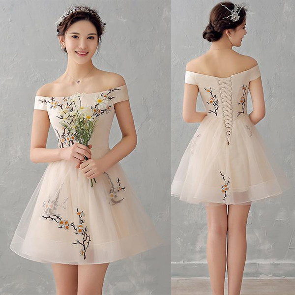 Sexy Off the Shoulder Champagne Appliques Homecoming Dresses Short ...