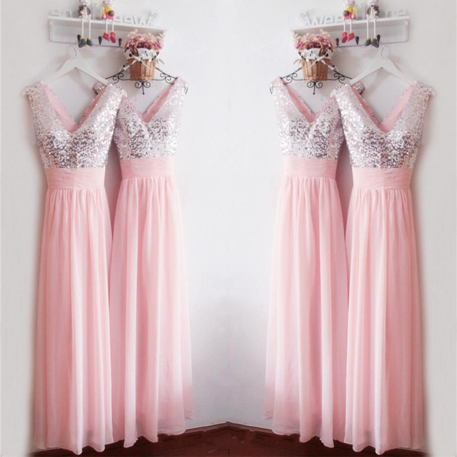 A118 Glitter Sequins V Neck Long Chiffon Pink Bridesmaid Dresses ...