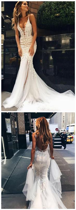 Luxurious Mermaid Long V-neck Wedding Dress with Open Back bridal ...