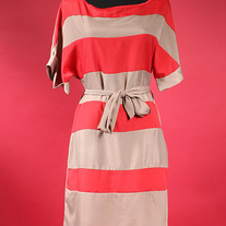 Red / Taupe Striped Tunic Dress Tie Wrap Dolman Sleeve S M