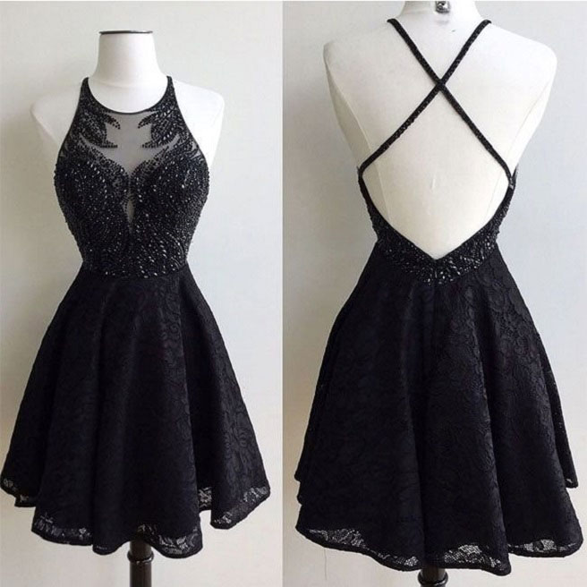 Halter Black Lace Homecoming Dressesshinny Homecoming Dresses