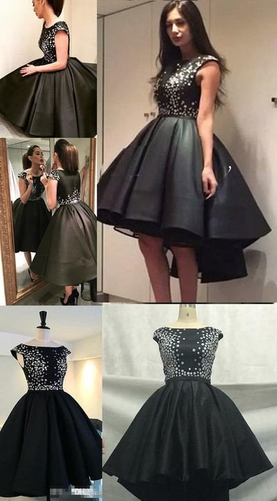 Cute Sparkly Black Homecoming Dresses Prom Dress For Teens ...