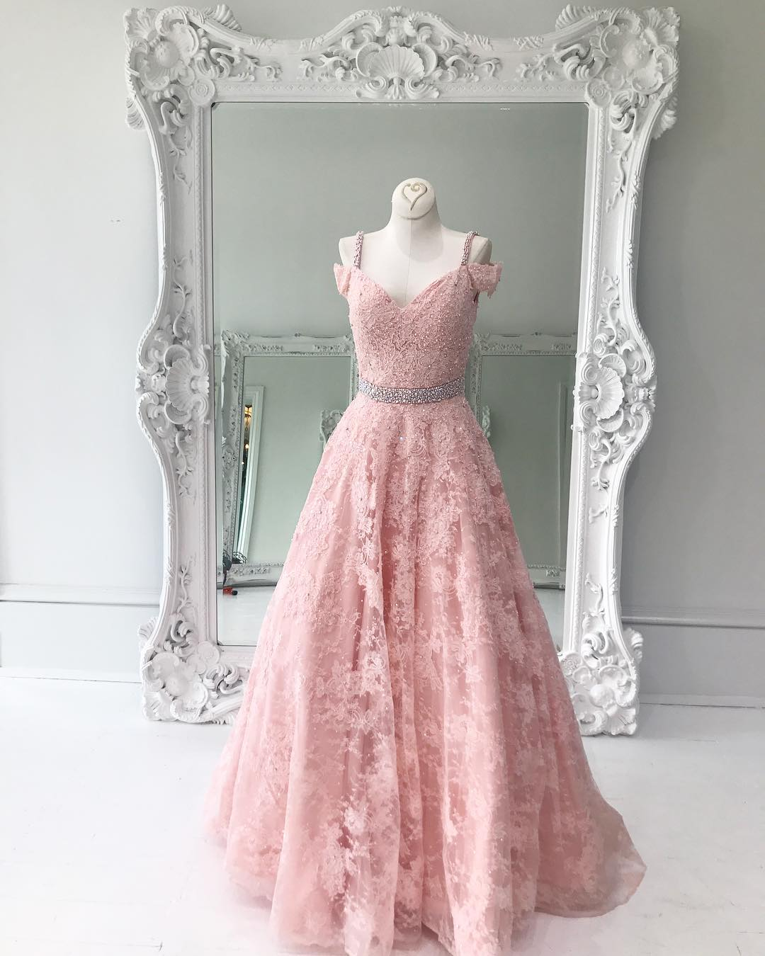 Pink lace A-line v-neck long prom dress, pink evening dress · Dream ...