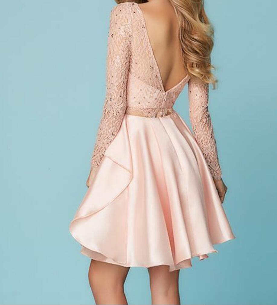 A Line Two Piece Pink Short Formal Prom Dress with Long Sleeves ...