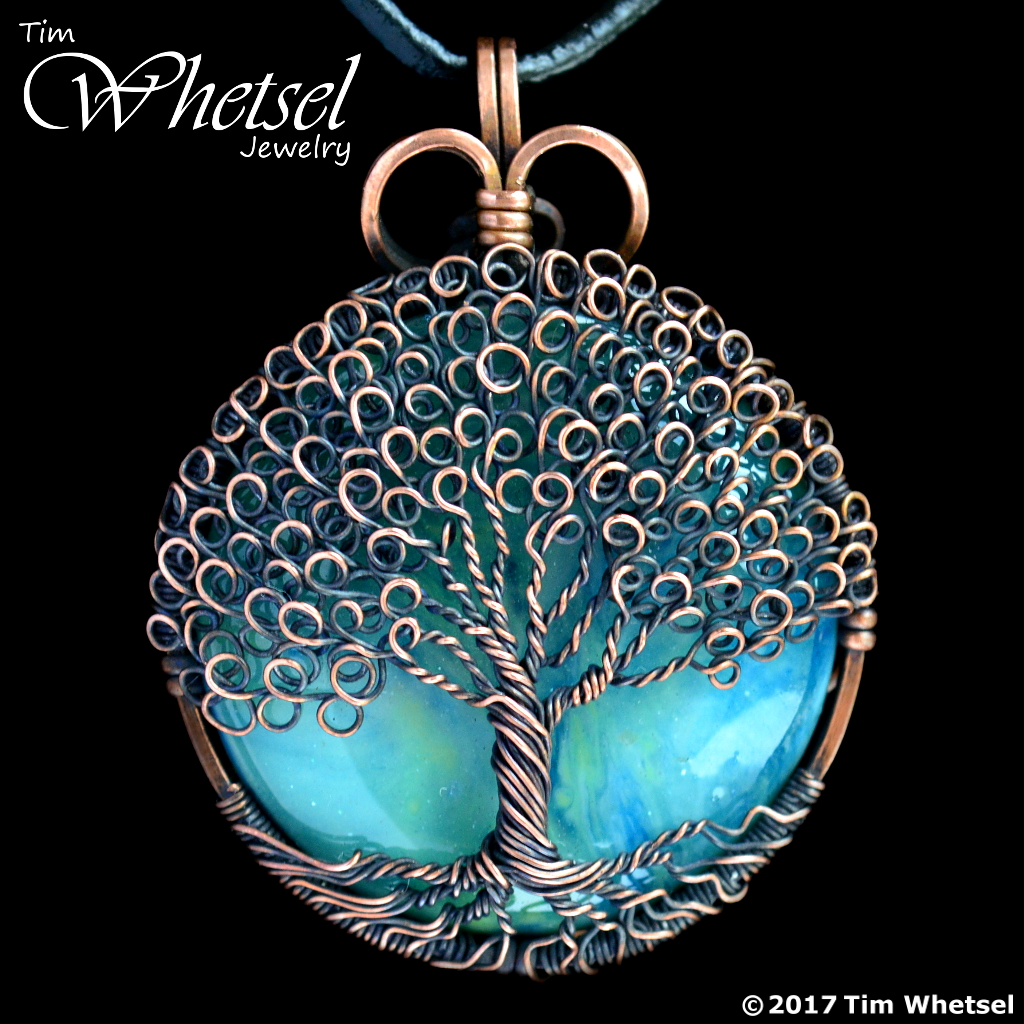 Green Orgone - Copper Tree of Life Pendant - Loop Leaves - Wire Wrap ...