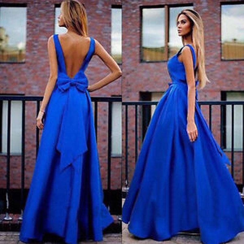 Royal Blue A Line Simple Long Satin Floor Length Long Elegant Prom ...