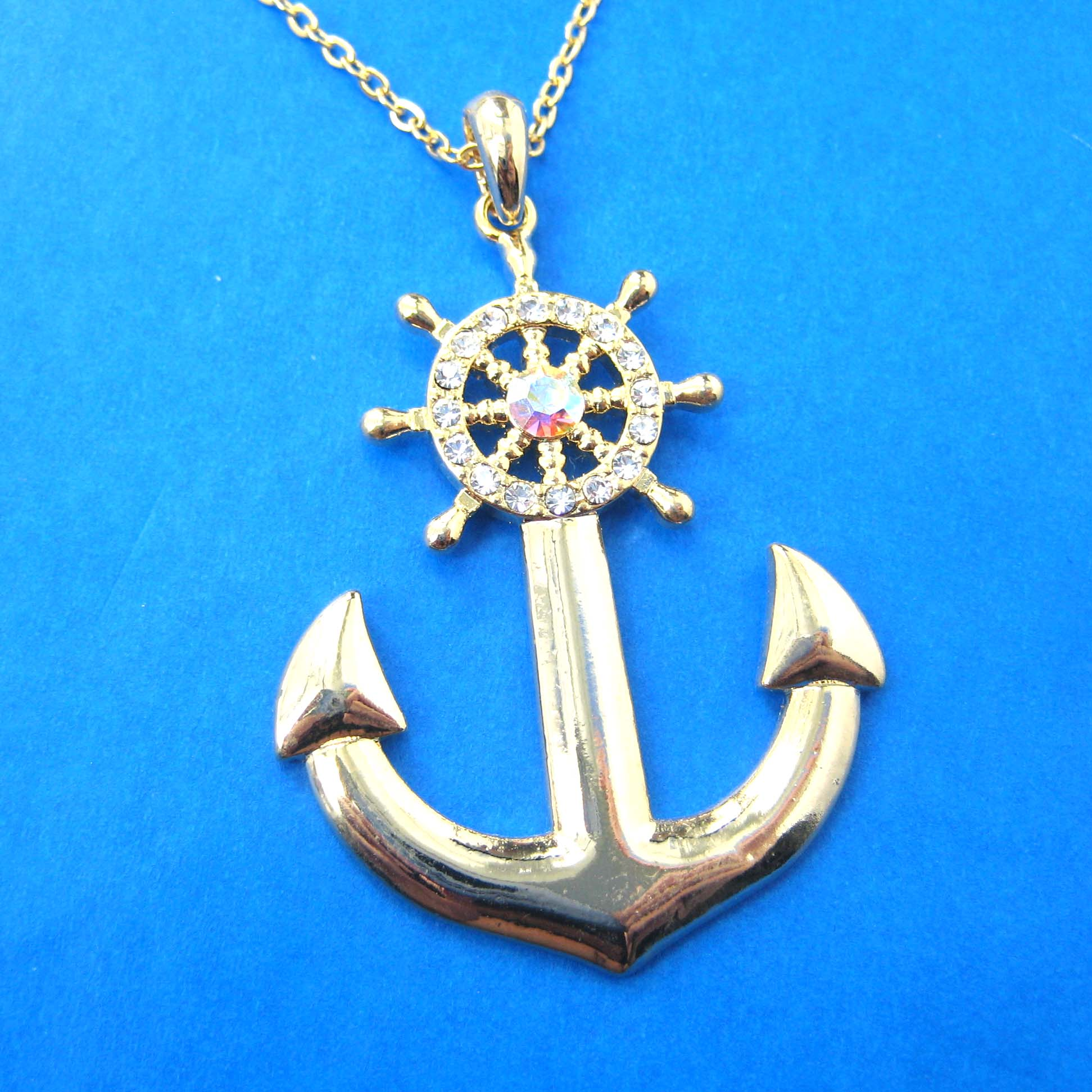Nautical Anchor and Wheel Pendant Necklace in Gold with Rhinestones