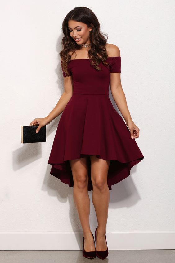 ea1994d0d Burgundy Off-shoulder Short Sleeves High Low Homecoming Prom Party Dresses  HD25