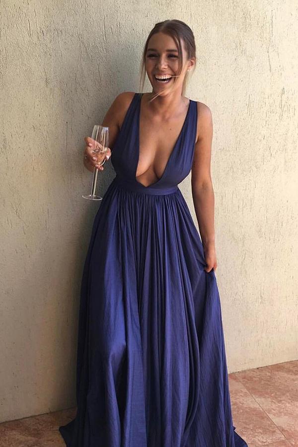 a line deep v dress