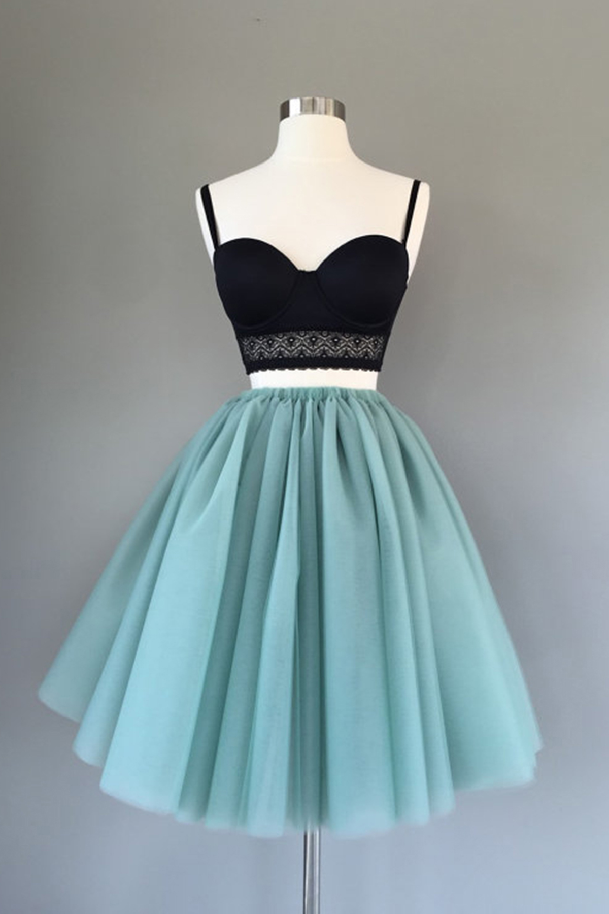 Cute two pieces black top short homecoming dress, tulle prom dresses ...