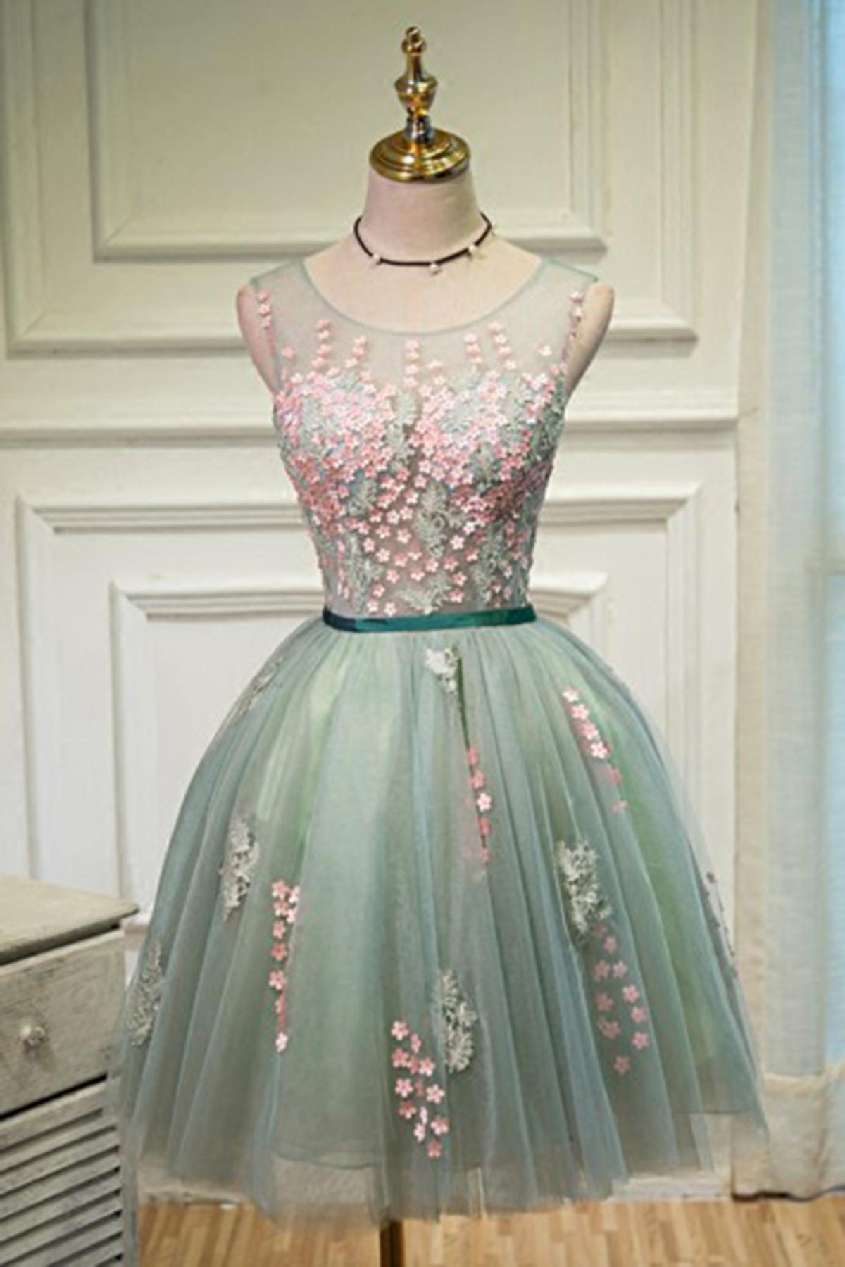 New light green tulle short prom dress, 3D flower party dress ...