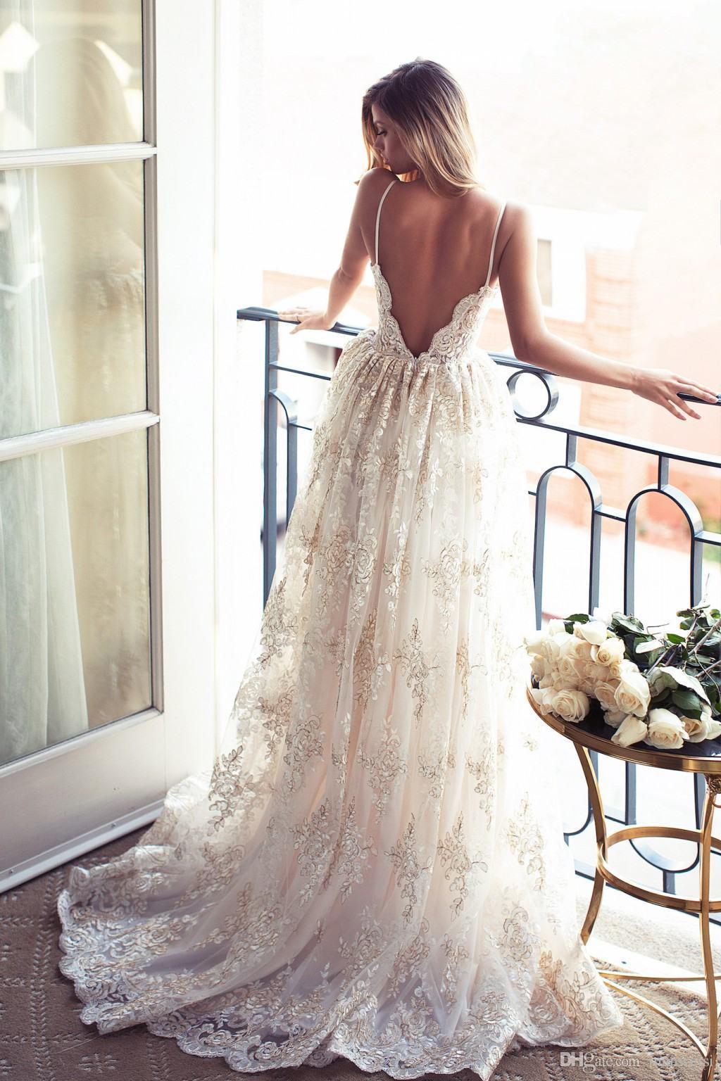 E188 Romantic A-line Strapless Long Lace Wedding Dress,Princess ...