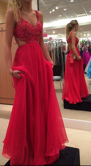 Charming Prom Dress Sexy Red Prom Dresssleeveless Evening Dress