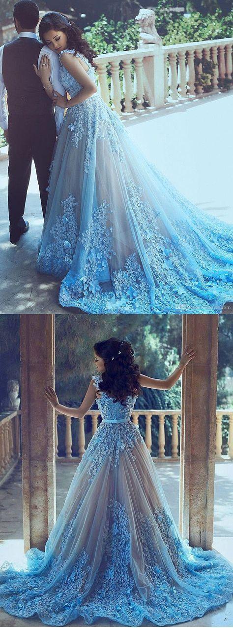 Prom Dresses,A-Line Wedding Dresses,Blue Wedding Dresses, Sleeveless ...