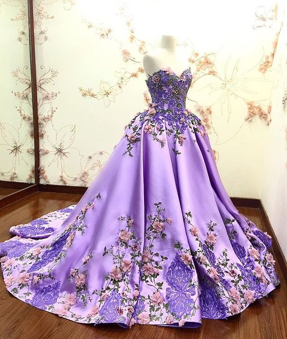 Lilac Prom Dress With Lace Appliques Long Quinceanera Dresses Ball ...