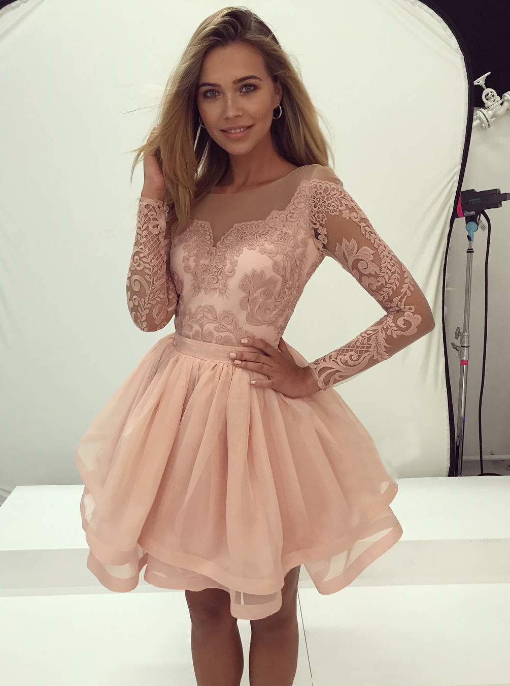 Cute lace round neck short prom dress, long sleeve homecoming dress ...