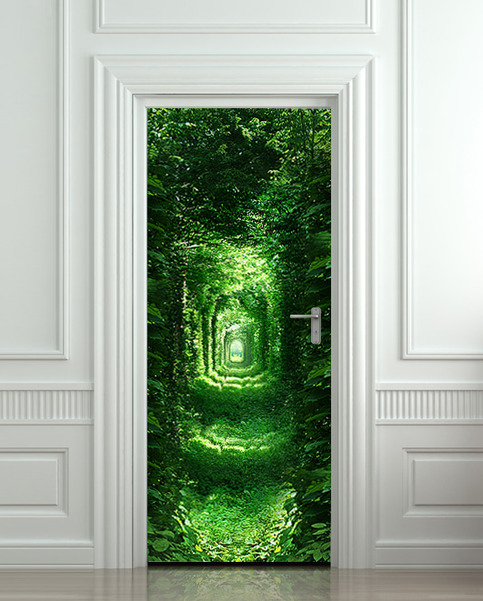 Door sticker wall sticker forest green tunnel rabbit hole for Door wall mural