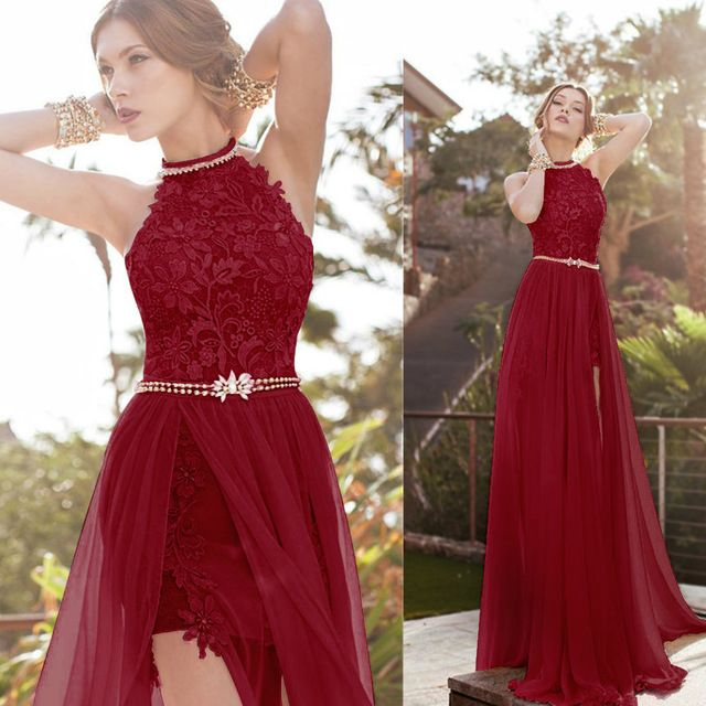 W2 Halter Sleeveless Long Wedding Bridal Gowns,Burgundy Side Slit ...