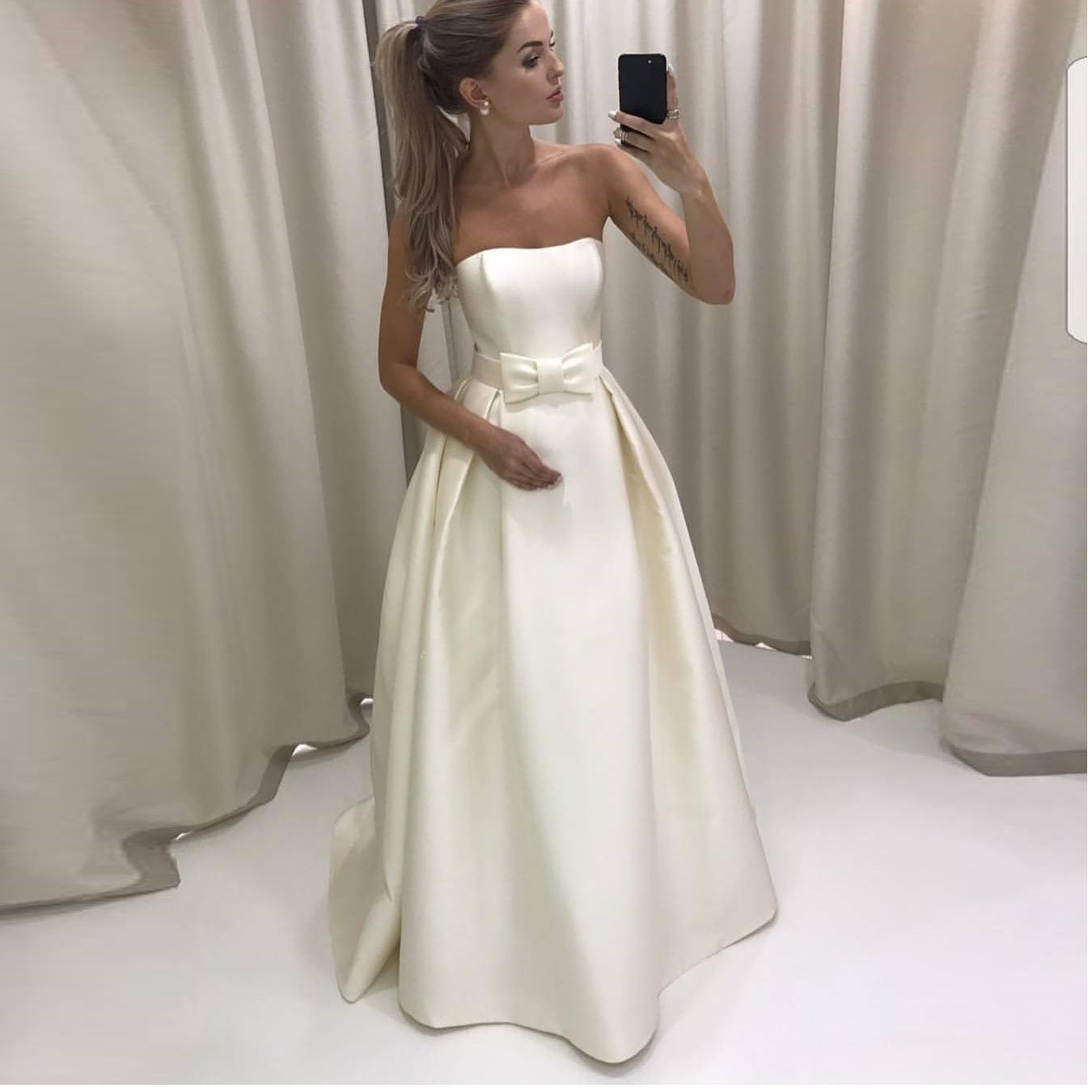 2018 New Arrival Ivory Strapless Satin A Line Prom Dress,Long Formal ...