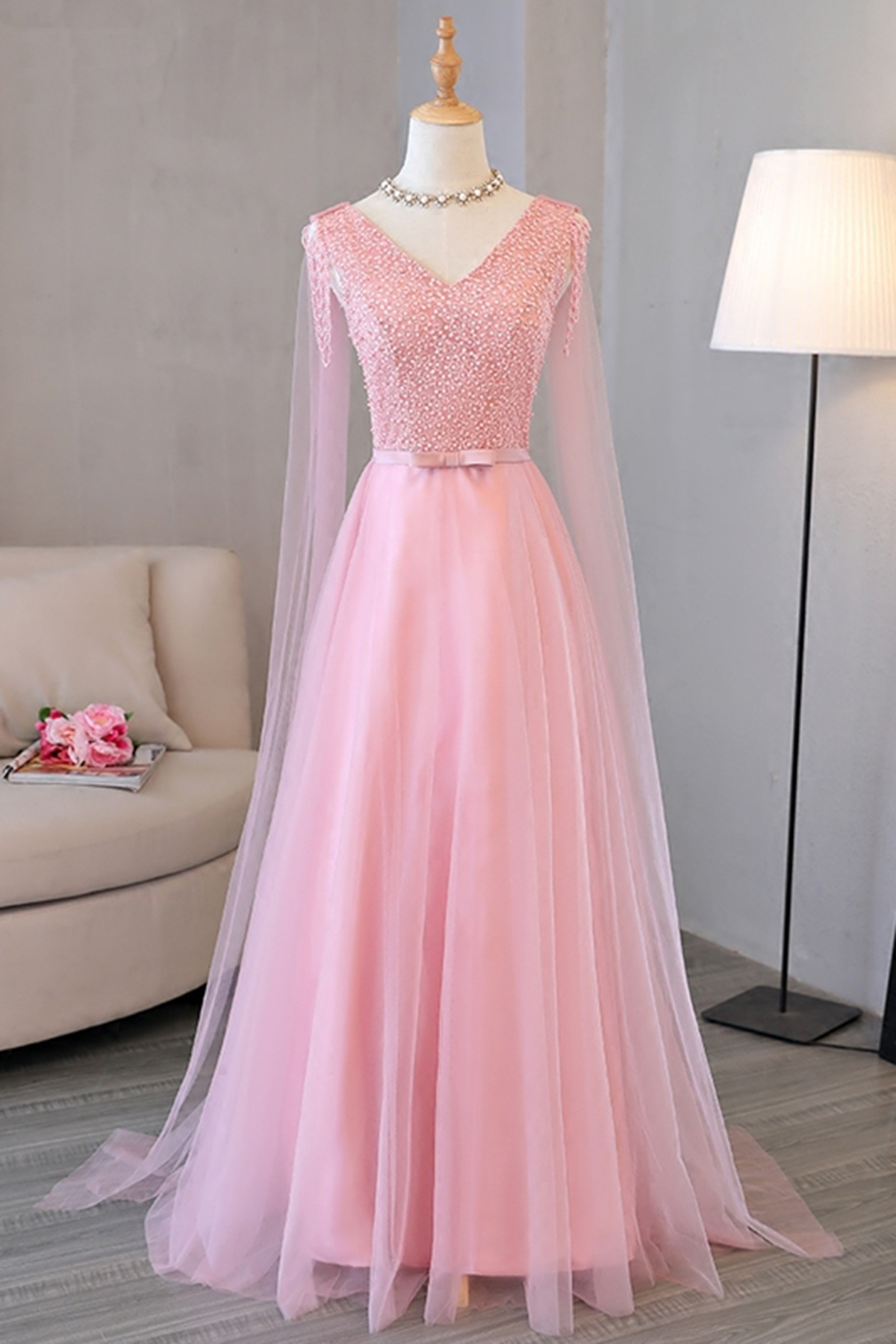 Cheap Prom Dresses by SweetheartDress · Pink V-neck long tulle ...