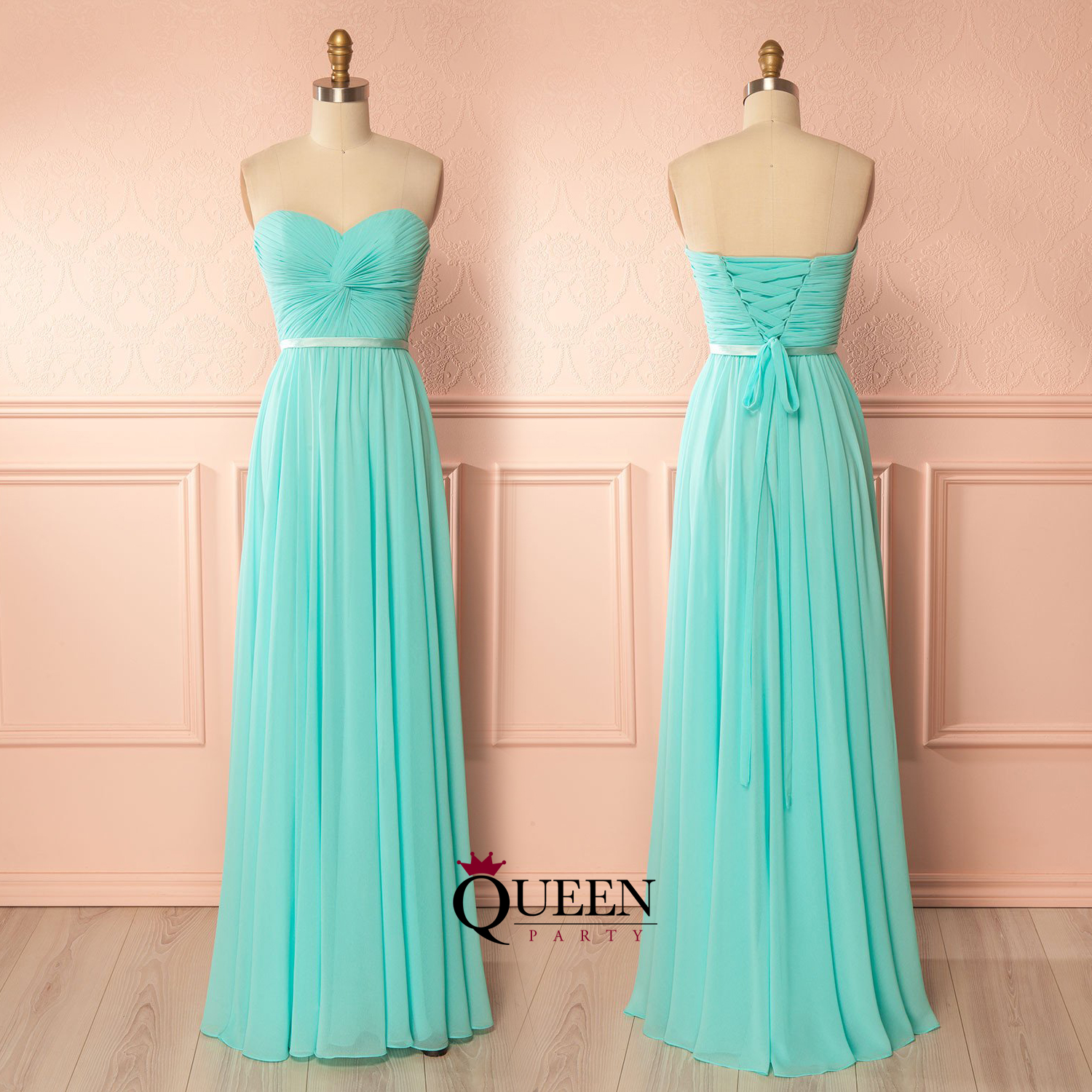 Glamorous Mint Chiffon Strapless Ruched Bodice Sleeveless Long ...