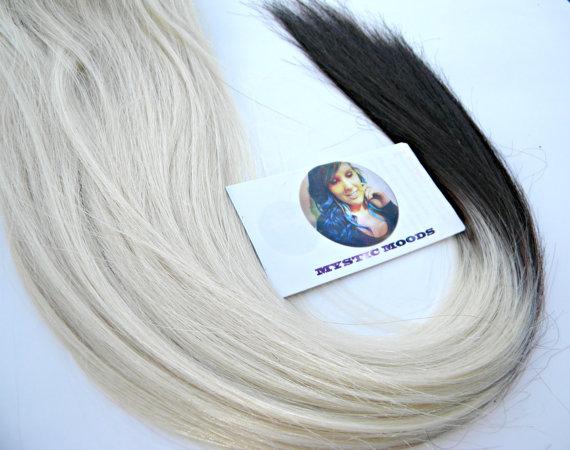 20 Platinum Blonde Human Hair Extensions 68