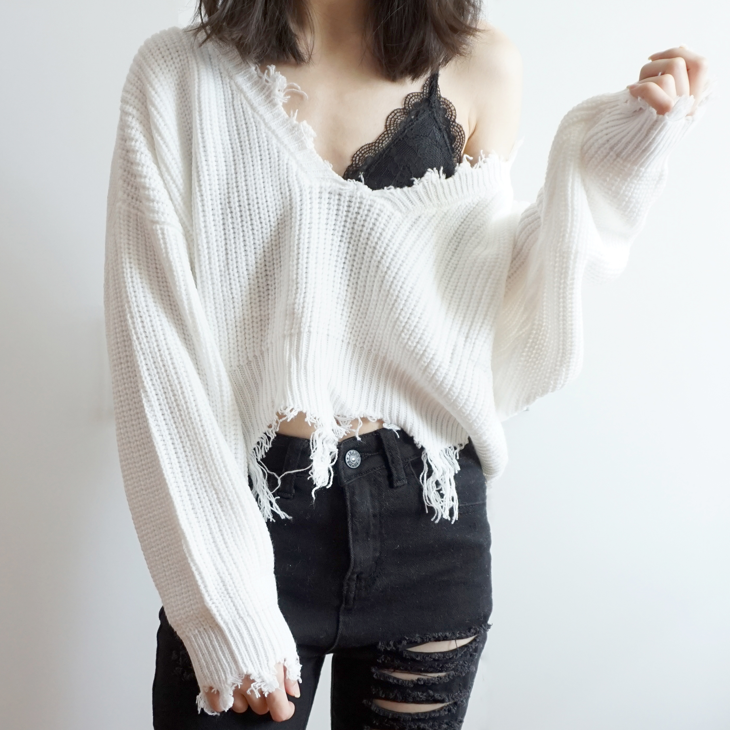 Distressed V-Neck Cropped Sweater (2 Colors) · Megoosta Fashion ...