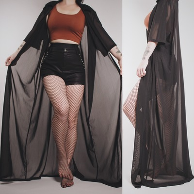 Claimed  princessxteex93 - vintage 80s black sheer extra-long duster   dressing  gown 777228b12