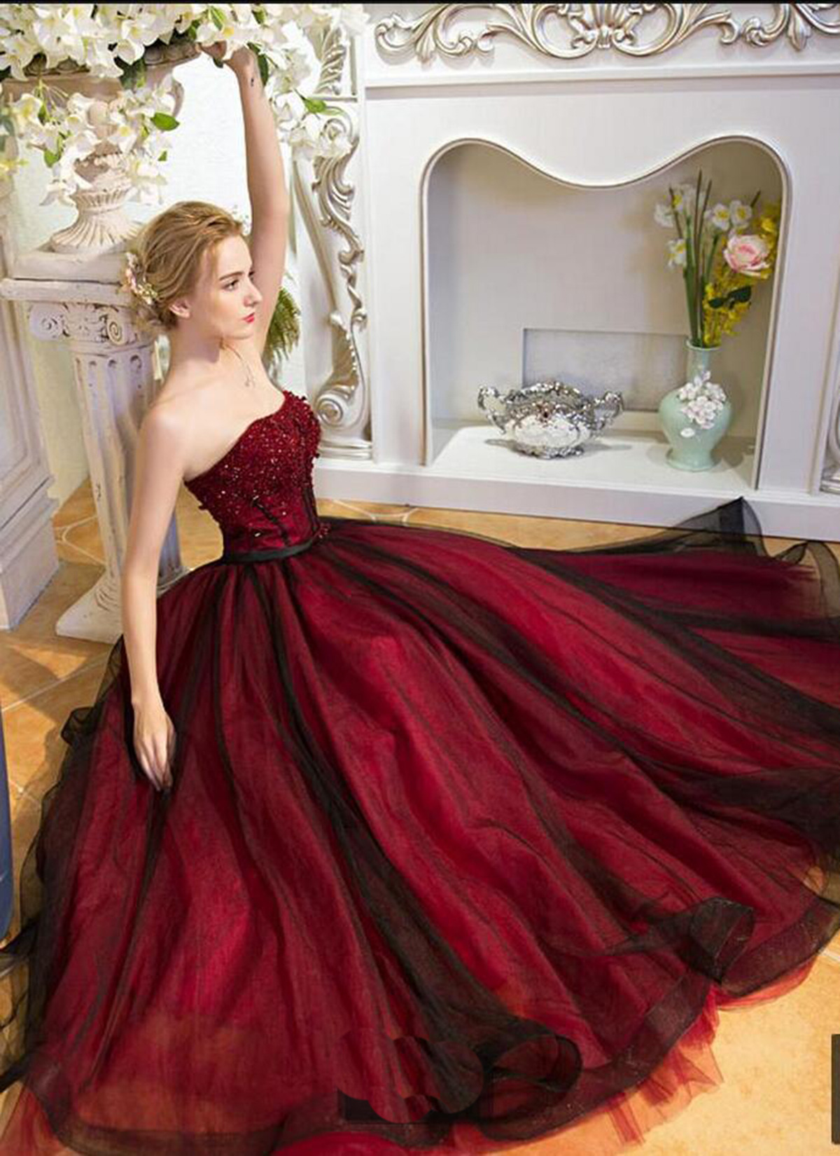 Burgundy Ball Gown Sweetheart Lace-up Prom Dress Z174 · CocoFashion ...