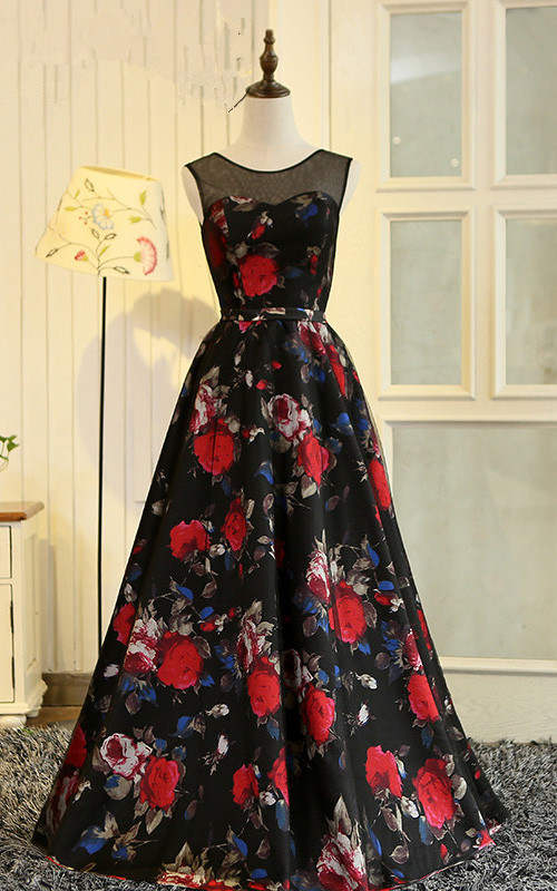 13aa146c75a Black Red Floral Print Sleeveless Floor Length Satin A Line Prom Dress