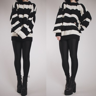 Vintage 80s chunky knit black   white striped pullover sweater 7a00f2109
