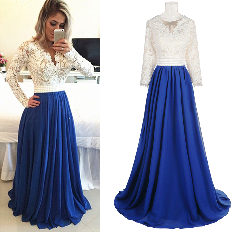 long prom dress, lace prom dress, modest prom dress, long sleeves ...