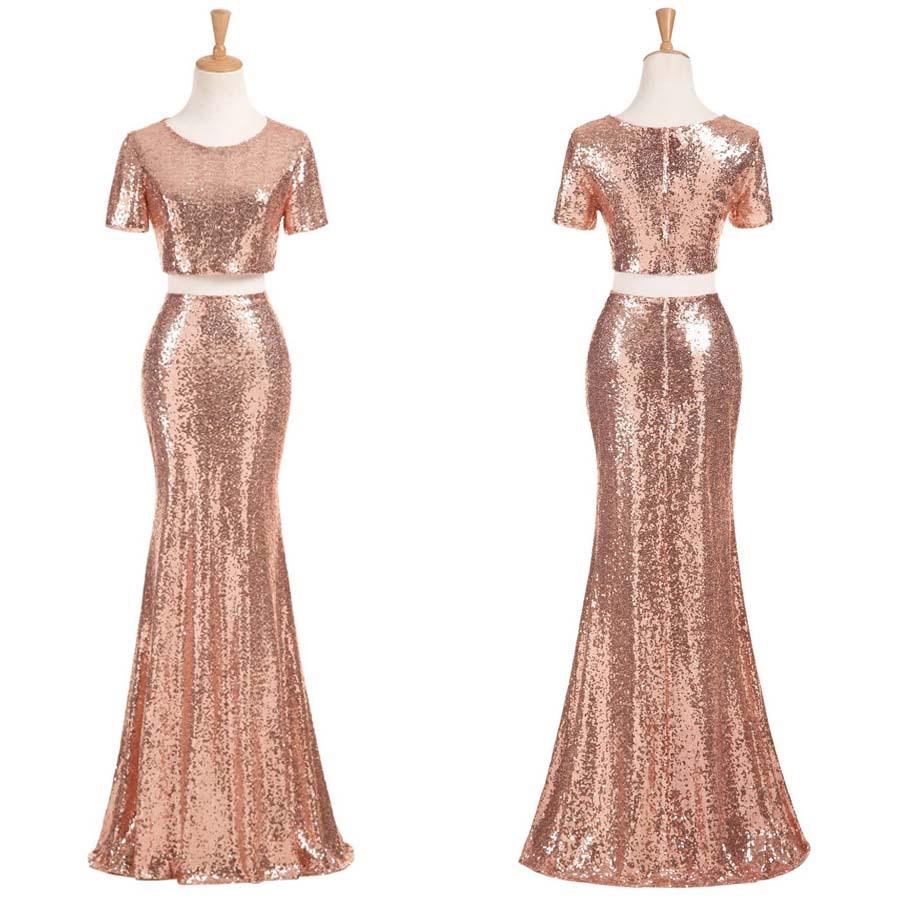 Sequin bridesmaid dress, two piece bridesmaid dress, short sleeve  bridesmaid dress, long bridesmaid dress, mermaid bridesmaid dress, PD15254  from ...