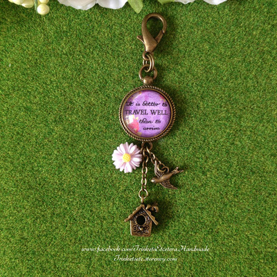 """travel well"" vintage chic bag charm"