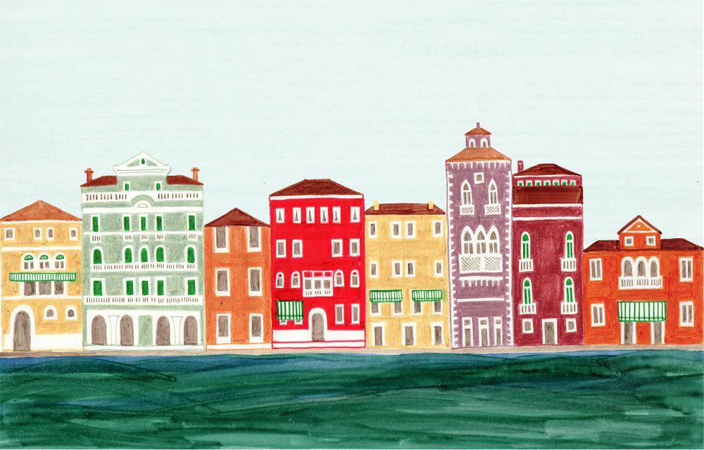venice italy colorful illustration art print venetian