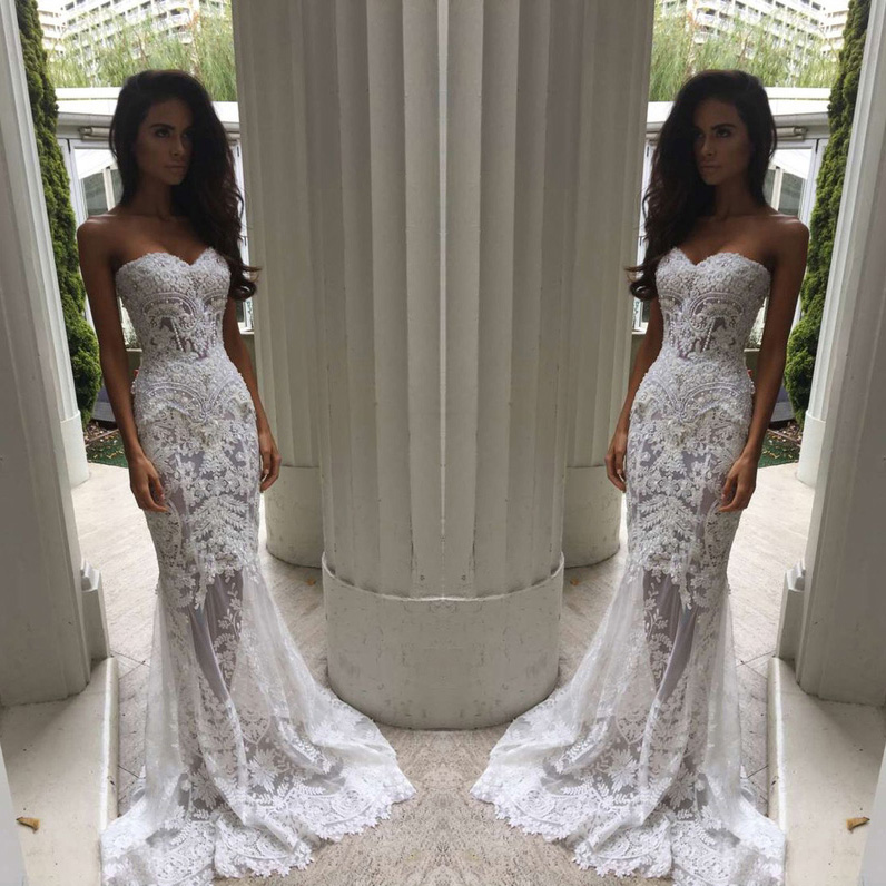 Mermaid Sweetheart Long Lace Wedding Dresses,Bridesmaid Dresses ...