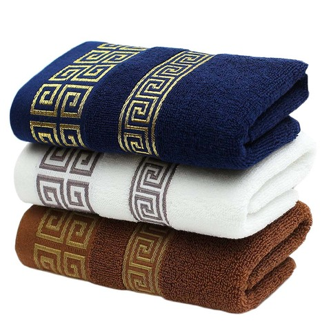 Set of 2pcs Versace Bath Towels Black with gold embroidered logo