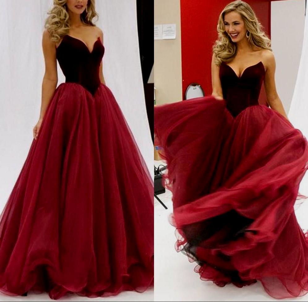F144 Gorgeous Strapless Long Burgundy Prom Dress Evening Dress ...
