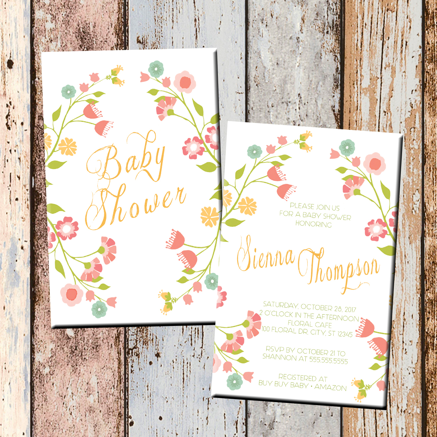 Floral Spring Baby Shower Invitation-2 Sided · SCG Designs ·