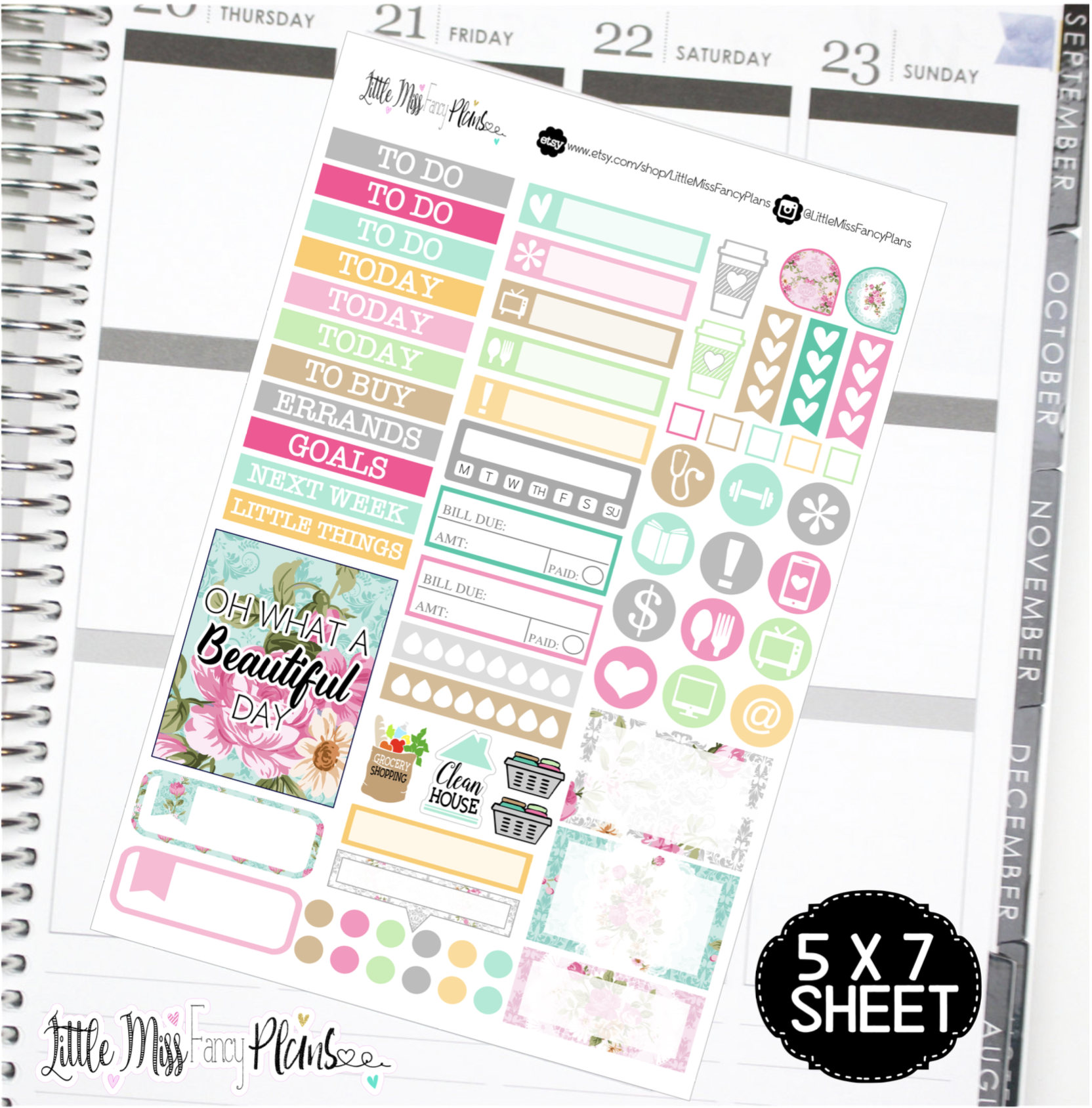 floral shabby chic erin condren happy planner stickers personal
