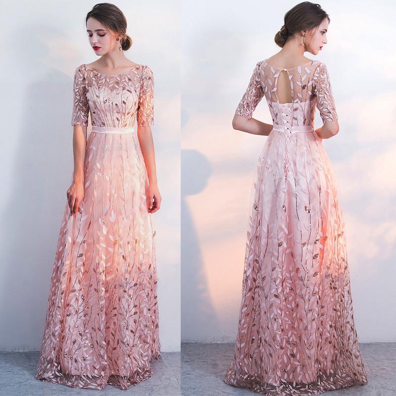 Unique sequin appliques prom dress.Half sleeve a-line prom dress ...