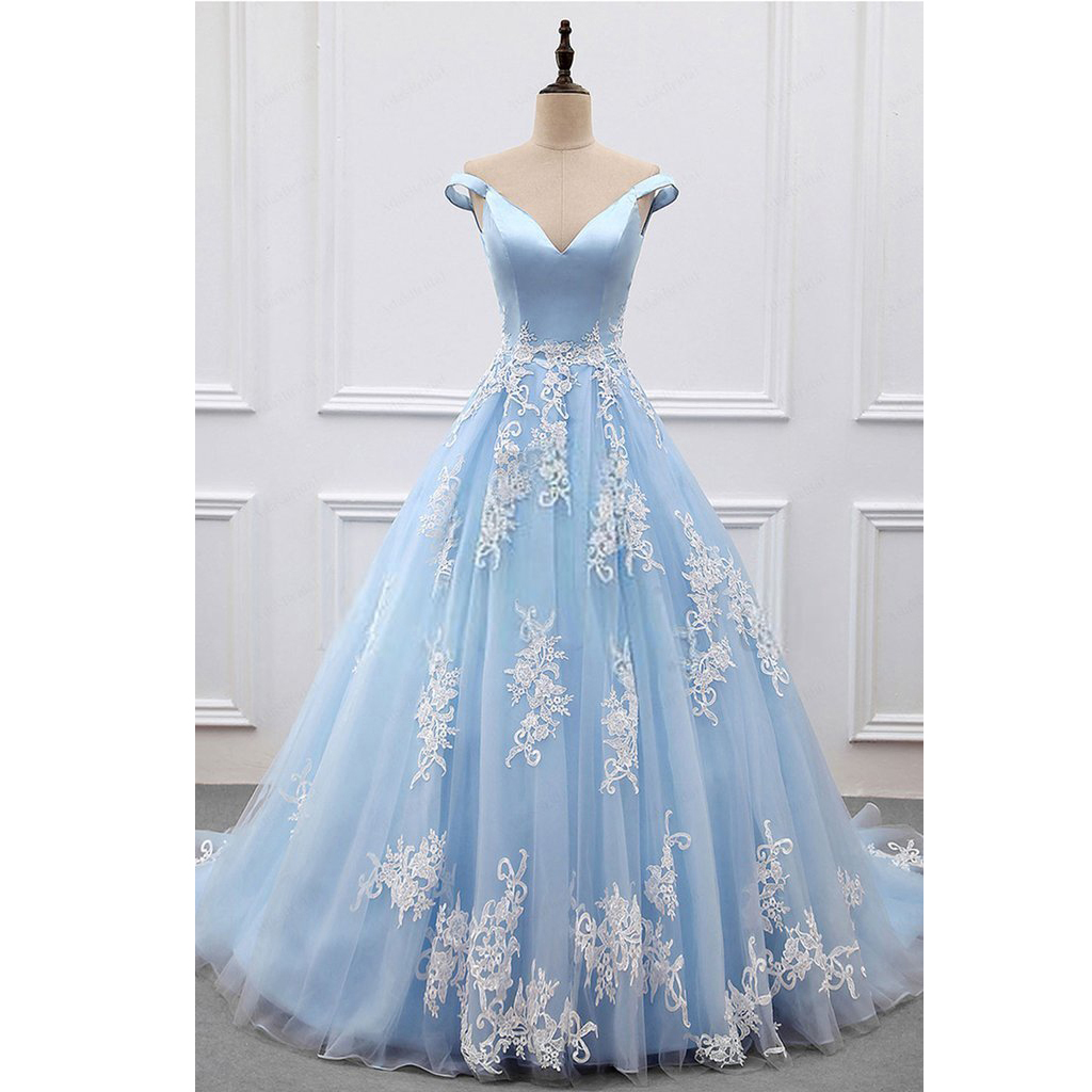 Elegant light blue off shoulder ball gown prom dress for Elegant ball gown wedding dresses