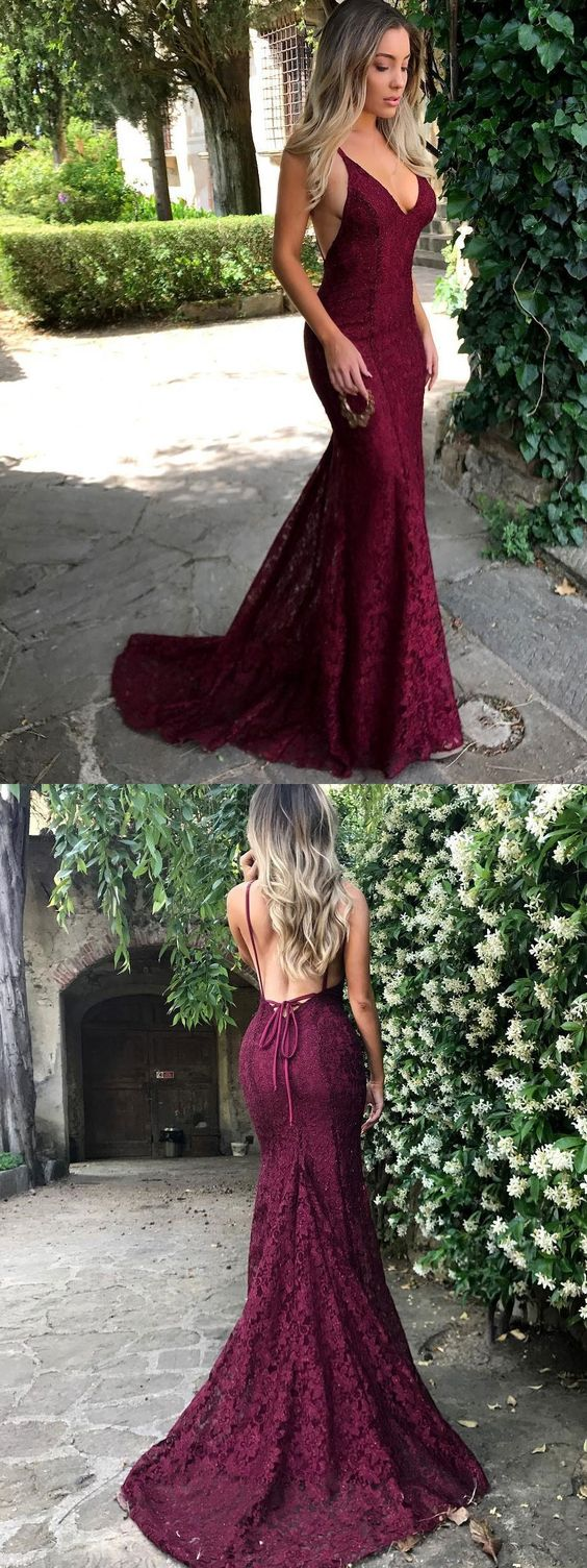 Lace prom dresses,mermaid prom dress with train,vintage prom dress ...