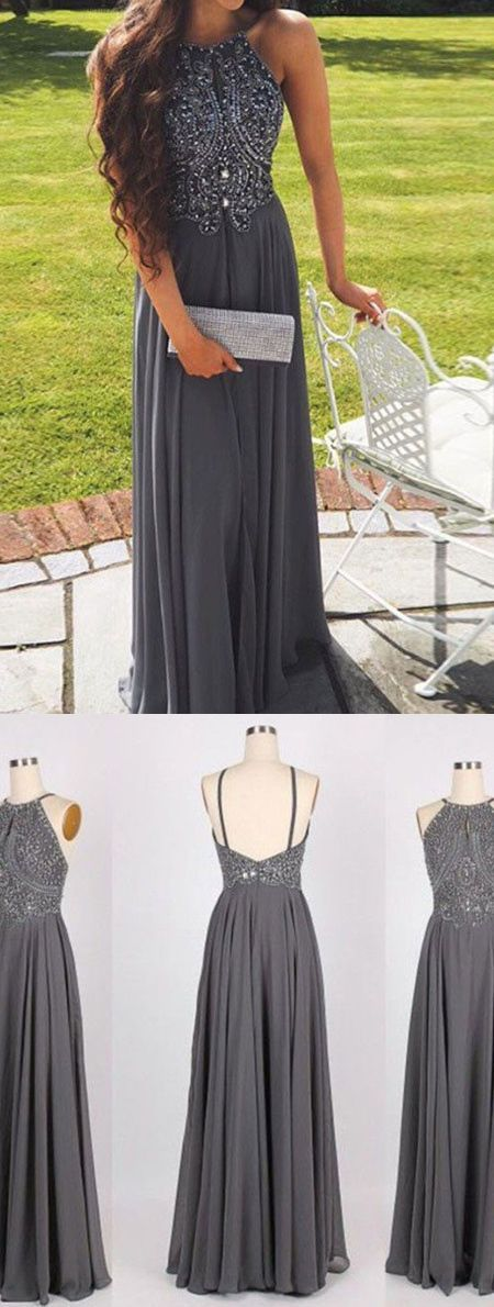 Elegant prom dress, long prom dress,grey beaded prom dresses ...