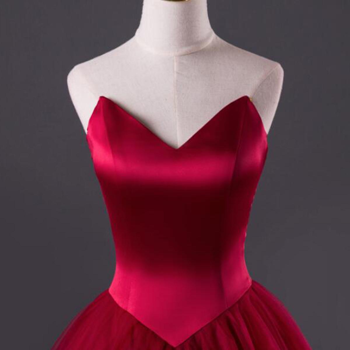 Burgundy tulle strapless sweetheart neckline long evening dress ...