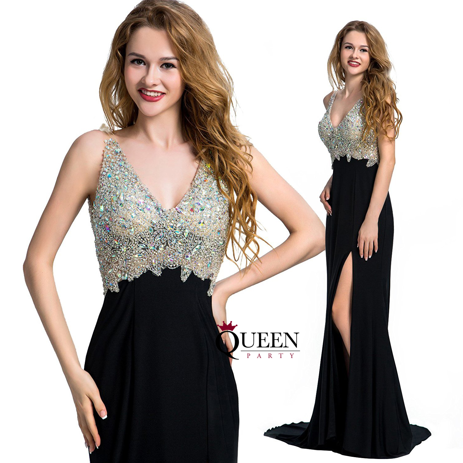 Designer Black V-Neck Beaded Crystal Mermaid Long Prom Dress Slit ...